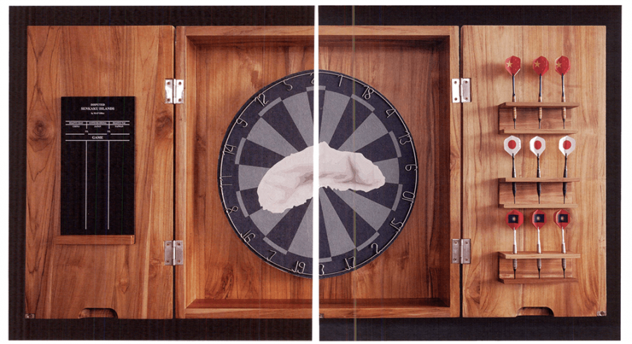 """Image: MAP Office, Disputed, 2014, wooden dart game, booklet, edition 1/3, 23.6"""" x 23.6"""" x 5.9""""."""