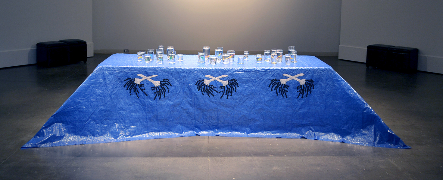 Ruth Cuthand, Don't Drink, Don't Breathe, 2014-2015, glass beads, thread, plastic tarp 2441 x 91 w x 77 ½ h cm (dimensions variable)