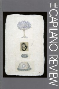 """Tomoya Ihaya, Magnolia Blossom (from Daily Inspiration series) Etching Collage, Pen & Ink Watercolour 3-1/2"""" x 2-1/4"""""""