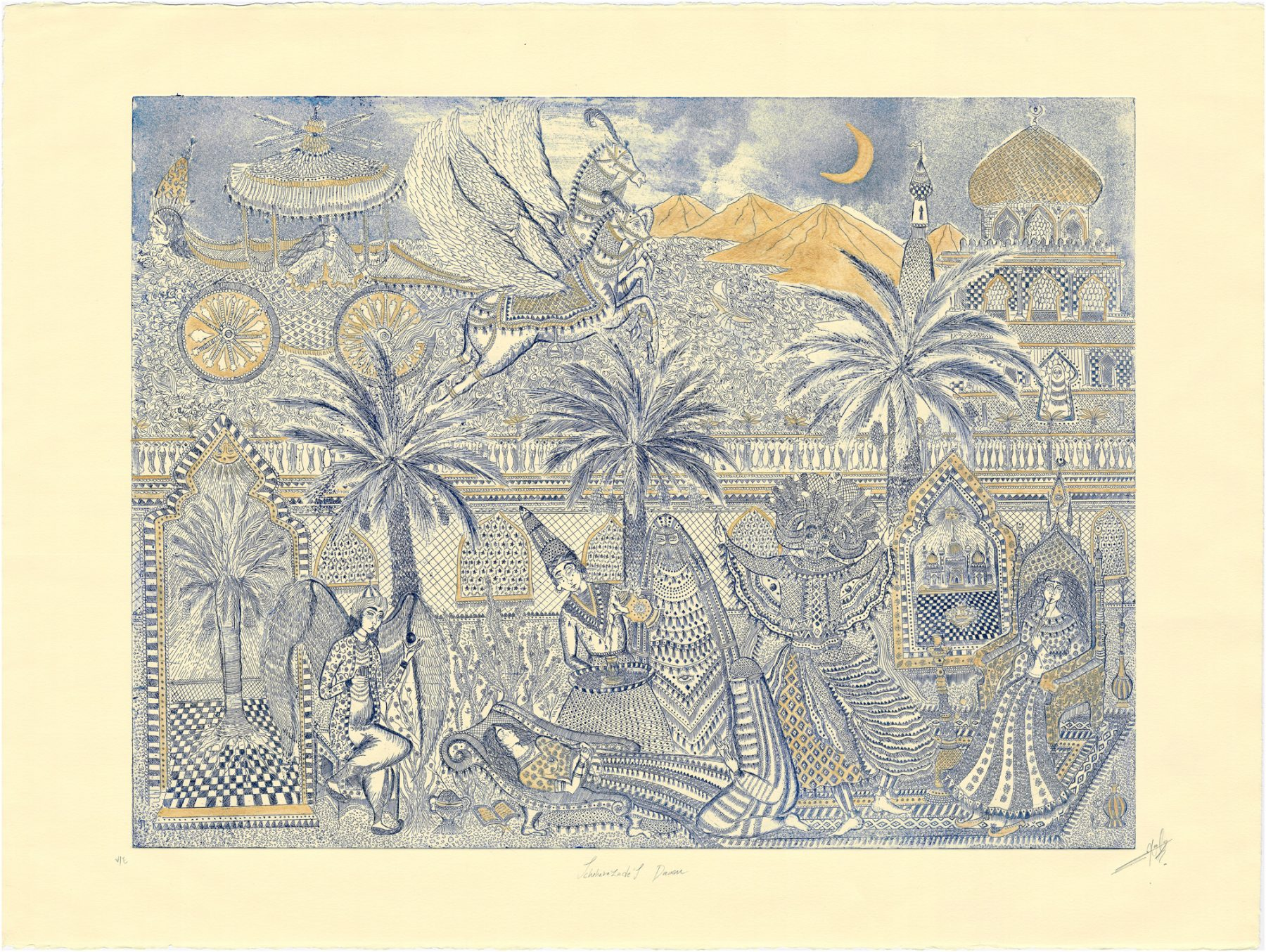 Hana Amani, Scheherazade's Dream, 2019. Intaglio and gold paint on ivory Fabriano paper, 30 x 37 inches