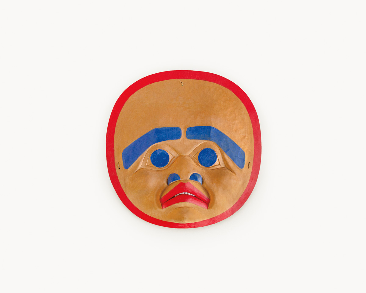 Beau Dick, Medallion, 1978, red cedar, acrylic, 6 x 6 x 1 inches