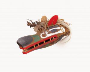 Beau Dick, <i>Tlingit-Style Wolf</i>, 1979, red cedar, acrylic, cedar bark, horsehair, feathers, 6.25 x 6.5 x 13 inches