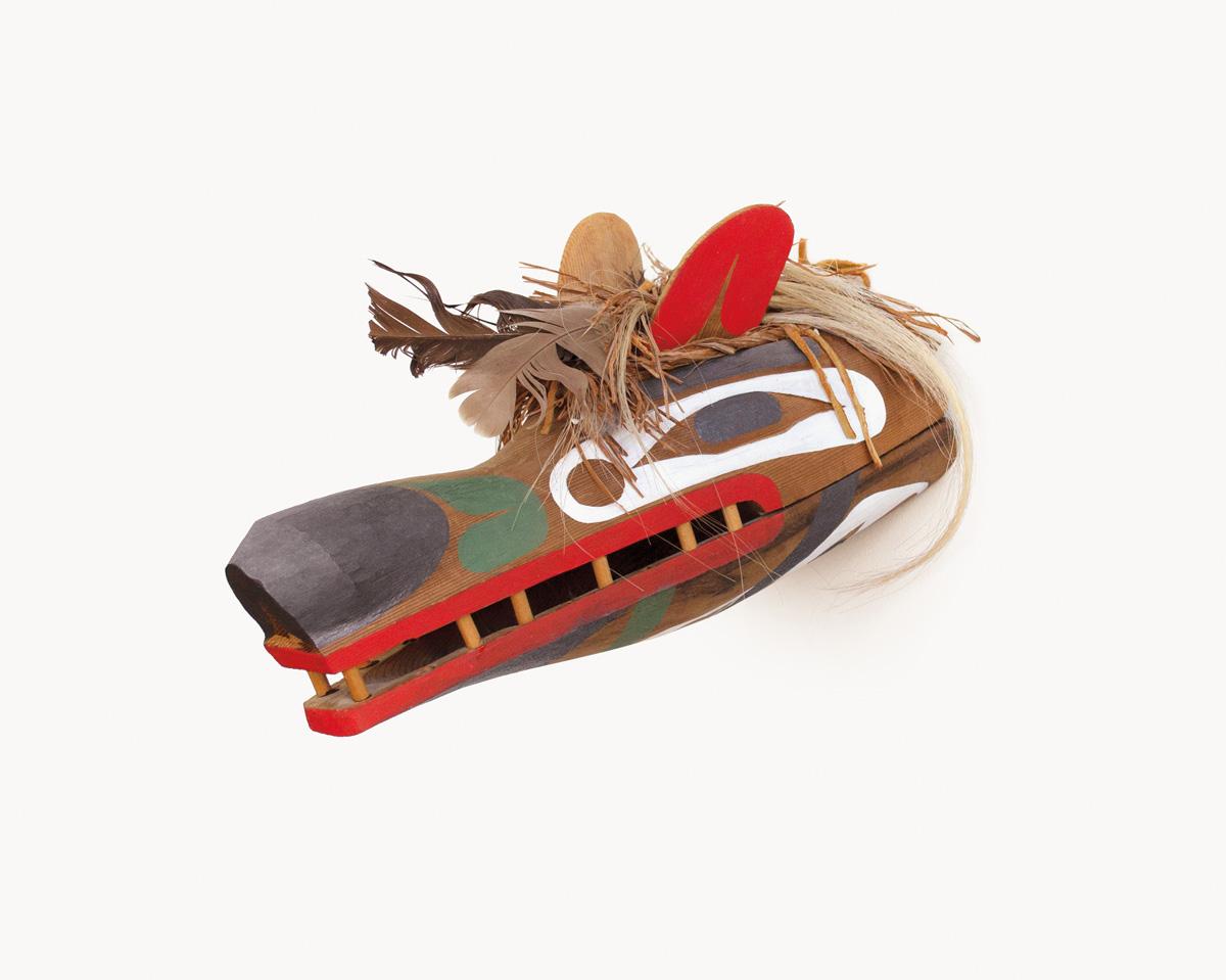 Beau Dick, Tlingit-Style Wolf, 1979, red cedar, acrylic, cedar bark, horsehair, feathers, 6.25 x 6.5 x 13 inches