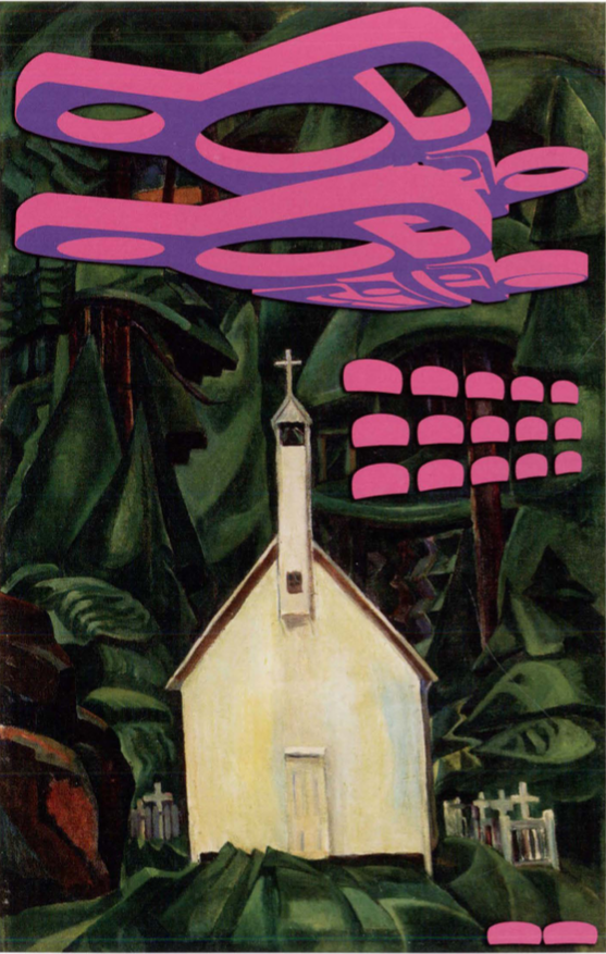 Sonny Assu, Re-invaders, 2014. Digital intervention on an Emily Carr Painting, 22.5