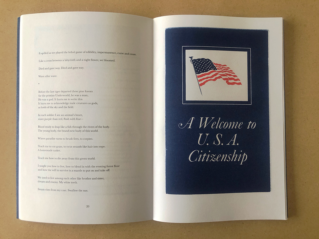 """Excerpt from """"granted to a foreign citizen"""" by Sun Yung Shin. Photo by Steffanie Ling."""
