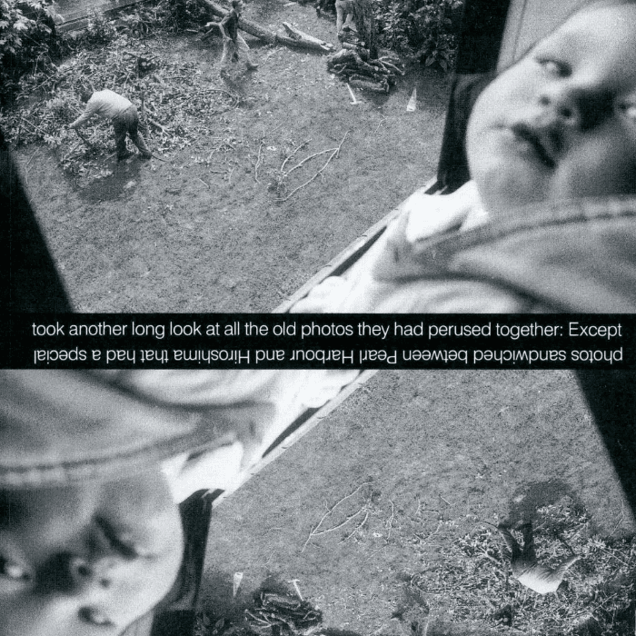 """Artwork featuring a black and white image inverted such that it appears twice. Image includes a baby's face and a figure off on the grass in the distance. Text across the center: """"took another long look at all the old photos they had perused together. Except"""". The text then appears upside down and backwards to read: """"photos sandwiched between Pearl Harbour and Hiroshima that had a special""""."""