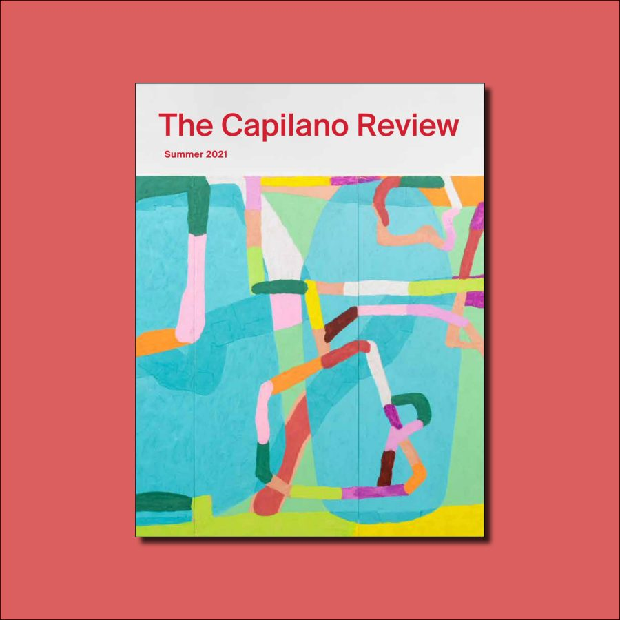 The cover of TCR featured on a coral background. The cover features an abstract painting with bright colours and many directional lines.