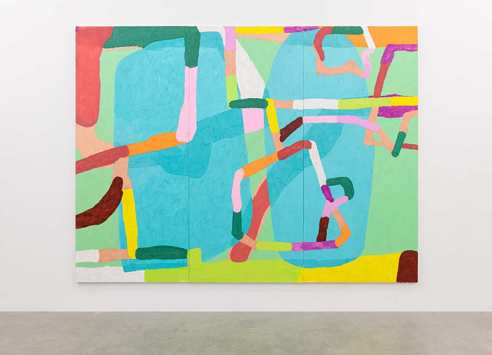 Installation image of an abstract painting with bright colours and many directional lines. The general tones are bright blues, pinks, oranges and burgundy.