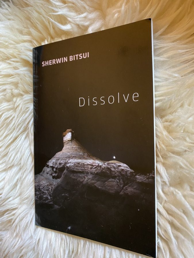 Coloured, book titled 'Dissolve' laying on a lambskin rug.