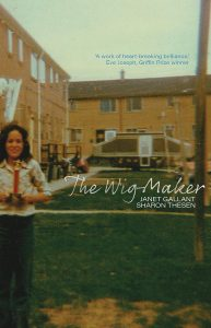 Cover of the book the Wait Maker. A colour photograph of a young woman standing in front of a housing complex.